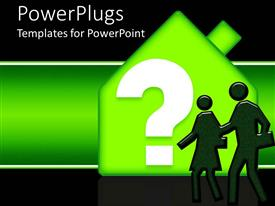 PowerPlugs: PowerPoint template with a greenish background with a house