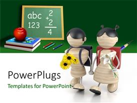 PowerPlugs: PowerPoint template with a greenish background with the kids going to school
