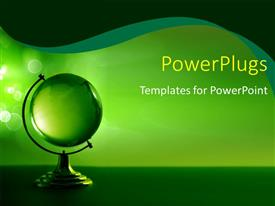PowerPlugs: PowerPoint template with a greenish globe with greenish background