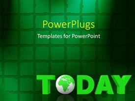 PowerPlugs: PowerPoint template with a greenish globe with a number of squares in the background