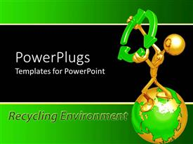 PowerPlugs: PowerPoint template with a greenish globe with a sign in its hand