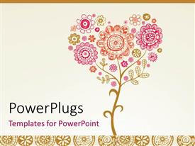 PowerPlugs: PowerPoint template with greeting card with floral design for wedding or valentine's day