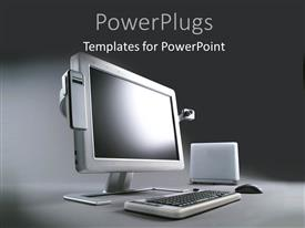 PowerPoint template displaying grey background with advanced computer system with wireless connections