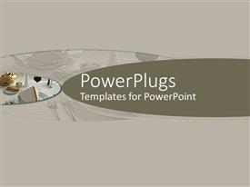 PowerPoint template displaying grey background with a hint of dinner table settings