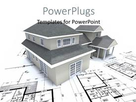 PowerPlugs: PowerPoint template with grey building over architectural blueprint and plan