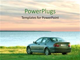 PowerPoint template displaying grey colored saloon car parked beside a calm river