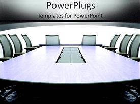 PowerPlugs: PowerPoint template with grey conference room in an office building with chairs for meeting on team communication