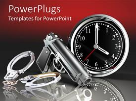 PowerPlugs: PowerPoint template with grey dominating color with grey handcuffs metallic gun and clock showing the time