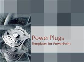 PowerPlugs: PowerPoint template with grey and silver montage of police badge on checkered background