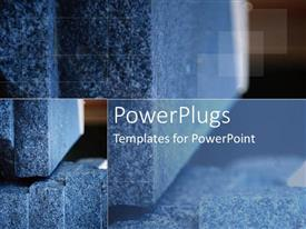 PowerPlugs: PowerPoint template with grey stone and plaques as a metaphor for foundation and structure on a brown background
