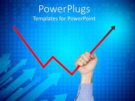PowerPlugs: PowerPoint template with grid patterned background withhand holding up red chart arrow