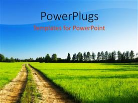 PowerPlugs: PowerPoint template with a landscape view of a green field and trees