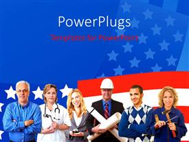 PowerPlugs: PowerPoint template with group of american business people with different occupations with   american flag