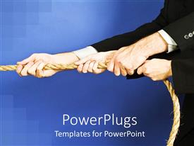 PowerPlugs: PowerPoint template with group of arms in black suit jackets with hands holding rope, teamwork