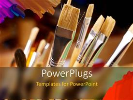 PowerPlugs: PowerPoint template with close-up of art brushes of different sizes