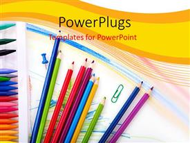PowerPlugs: PowerPoint template with learning depiction with school supplies on abstract background