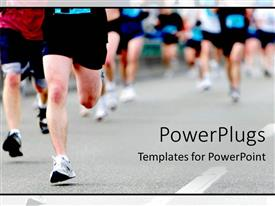 PowerPoint template displaying a group of athletes running together in a marathon