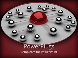 PowerPoint template displaying a group of balls connected together