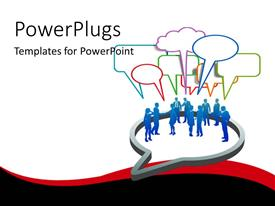 PowerPlugs: PowerPoint template with group of blue silhouettes with conversation bubbles