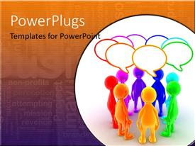PowerPlugs: PowerPoint template with group of brightly colored figures with conversation bubbles on business word cloud background