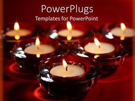 PowerPlugs: PowerPoint template with group of burning tea light candles and red holders arranged in triangle