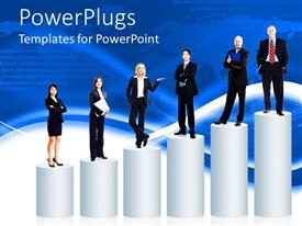 PowerPlugs: PowerPoint template with group of business men and women in black business attire standing on progressively larger pedestals
