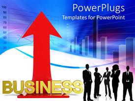 PowerPoint template displaying group of business men and women silhouettes next to gold Business with red arrow pointing straight up