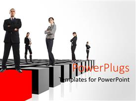 PowerPlugs: PowerPoint template with group of Business men and women standing on tiles