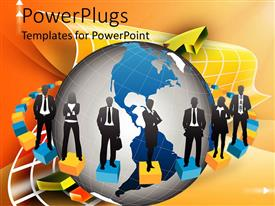 PowerPlugs: PowerPoint template with group of business people all dressed in black and white standing on red and yellow blocks surrounding globe