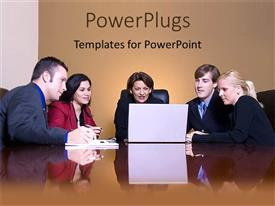 PowerPlugs: PowerPoint template with group of business people gathered around laptop computer