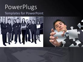 PowerPlugs: PowerPoint template with group and business people with men and women and depiction of focused business man with puzzle pieces