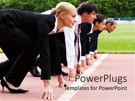 PowerPlugs: PowerPoint template with a group of business people ready to race
