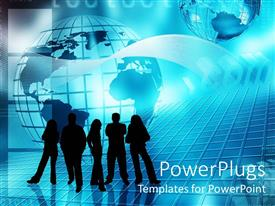 PowerPoint template displaying group of business people silhouettes in front of blue globe
