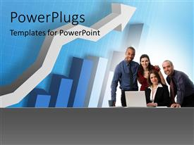 PowerPlugs: PowerPoint template with group of business professionals with 3D arrow and chart on blue background