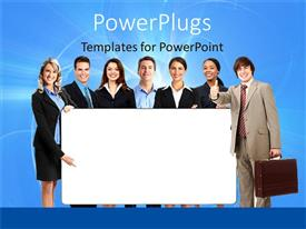 PowerPlugs: PowerPoint template with a group of business related people working together