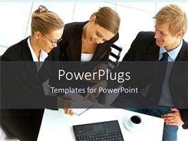 PowerPlugs: PowerPoint template with a group of business students studying together