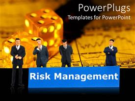 PowerPoint template displaying a group of businessman together thinking about risk management