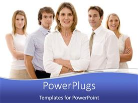 PowerPoint template displaying a group of businessmen together lead by a woman