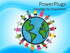 PowerPlugs: PowerPoint template with a group of children holding their hands together and Earth in the middle