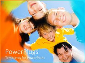 PowerPlugs: PowerPoint template with a group of children with their mother