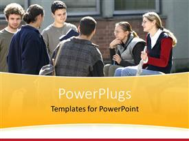 PowerPoint template displaying group of college students talking together