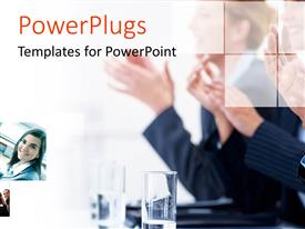 PowerPlugs: PowerPoint template with collage of business depictions with close-up of clapping professionals