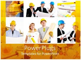PowerPlugs: PowerPoint template with a group of construction workers with their reflection in the background