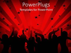 PowerPlugs: PowerPoint template with group of dancers in silhouette dancing on stage in front of red background