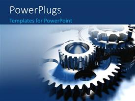 PowerPlugs: PowerPoint template with group of different sized gears on blue background