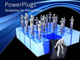 PowerPlugs: PowerPoint template with group of distraught looking figures standing on blue boxes with one thoughtful figure sitting