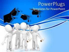 PowerPlugs: PowerPoint template with a group of figures celebrating their graduation ceremony together