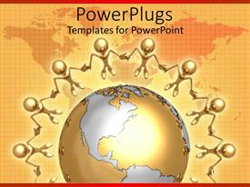 PowerPlugs: PowerPoint template with a group of figures encircling the globe