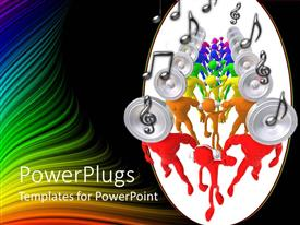 PowerPlugs: PowerPoint template with group of figures with headphones and speakers instead of heads with musical notes