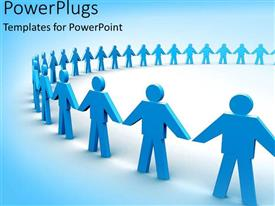 PowerPlugs: PowerPoint template with a group of figures holding hands together with bluish background